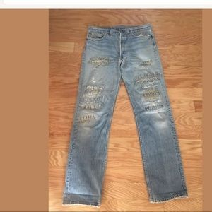 LEVIS Blue Bedazzled Bejewled  Boot Cut Jeans